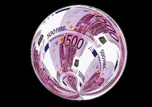 koule z euro bankovek