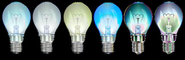 různobarevné zhaslé žárovky